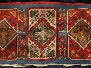 Antique Gobelin Rug Kilim Embroidery Tapestry Tablecloth Red Blue Wall Hanging
