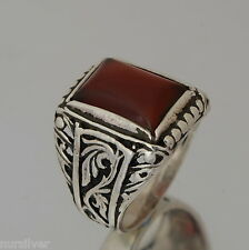 Hand made finish mens ring with Agate stone -Sterling Silver ring 925