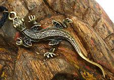 Gecko Echse Kette Salamander Kettenanhänger grosser Anhänger geflochtenes Band