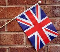 "UNION JACK HAND WAVING FLAG medium 9"" X 6"" wooden pole polyester flags BRITISH"