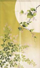 Noren Japanese Door curtain Matcha Green Hagi and Moon Wa Pattern Made in Japan