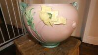 "Roseville Pottery Poppy 8"" X10.5"" Pink/Green/Yellow Ceramic Jardiniere 642-7 LG"