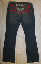 PEOPLE FOR PEACE butterfly embroidred studded retro look hippie rocker jeans 27