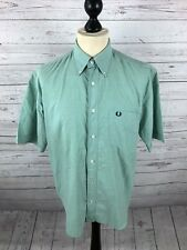 FRED PERRY Short Sleeved Oxford Shirt - Small - Green - Great Condition - Men's