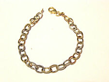 "14K YELLOW & WHITE GOLD CHARM  BRACELET 7"" x 1/4"" x 1/4""--WEIGHTS 3.27 GRAMS"