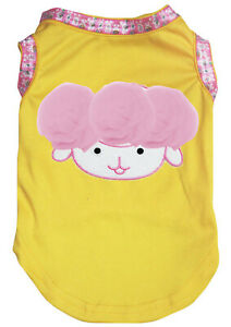 Easter Yellow Top T-Shirt Pink Rose Sheep Pet Cat Dog Puppy One Piece Clothes