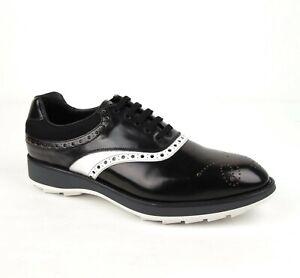 Prada Men's Black/White Leather and Mesh Oxford Dress Shoe UK 11/US 12 2EE260