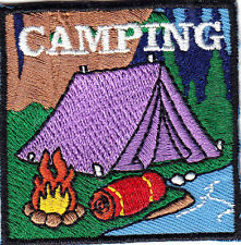 """CAMPING""  Iron On Patch Scouts Girl Boy Cub Camp Camper Outdoors Tent"