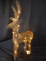 Large Pre Lit Christmas Reindeer Decoration Rustic Rattan LED Lights Indoor