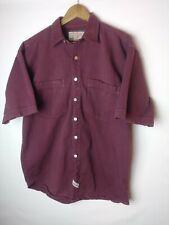 Jordin Mens Maroon Metal Button Front S/S Shirt Size Medium