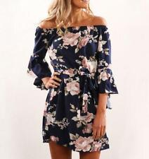 Women summer Sexy Off Shoulder Floral Print Chiffon Dress Boho Party Beach dress