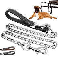 Chrome Chain Dog Lead Heavy Duty Pet Puppy Walking Training Lead Leather Handle