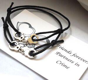 2 x Unisex Friendship Bracelets - FRIENDS Forever 'PARTNERS in Crime' -Handcuffs