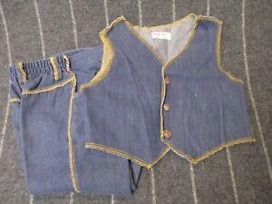 Vintage 70s Health Tex Santogs Boys Blue Indigo Denim Jeans & Vest Size 4