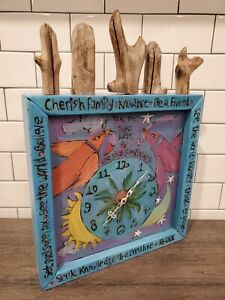 STICKS by Sarah Grant - Folk Art Bird Clock - Des Moines Iowa - 1996 - EUC
