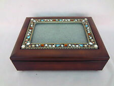 Music Box Jewelry Trinket Box Picture Frame Jeweled Top Wind up Wood Music Box