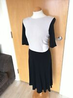 Ladies WALLIS Dress Size 16 Black Cream Stretch Smart Casual Day Office