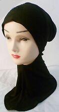 Hijab Styling Under Scarf Ninja Inner Neck Chest Plain Hat Cap Bonnet Black soft