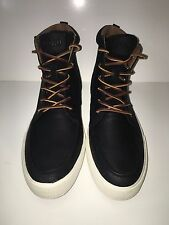 NEW Polo Ralph Lauren Tedd Casual High-Top Black Leather Sneakers Shoes sz 11D