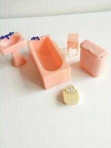 5 Piece Pink BATHROOM SET  Renwal Vintage Miniature Dollhouse Furniture