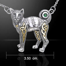Celtic Cat Emerald Green Glass Claddagh Sterling Silver Necklace Peter Stone