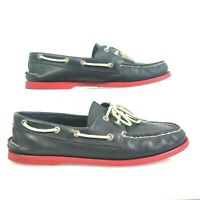 Sperry Top Sider Boat Shoes Mens 12M 2 Eye White Leather Laces Red Soles Black