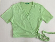 UNITED COLORS OF BENETTON TWO ITEMS  GREEN YELLOW OVERLAPPED BELTED KNIT TOP SzM