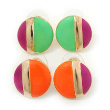 2 Pairs Neon Enamel Round Stud Earring Set In Gold Plating - 18mm Diameter