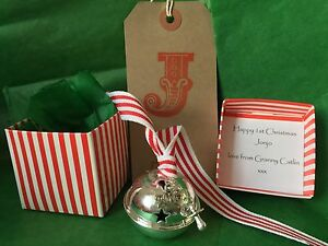 Personalised Baby's 1ST First Christmas 2020 Silver 50mm Bell Polar Express box