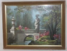 Vintage Framed Paint By Number Statue in Garden Bridge Foliage Rocks Trees PBN