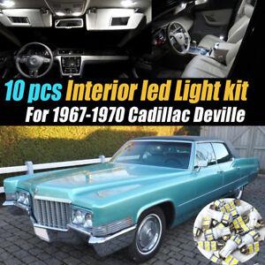10Pc Super White Car Interior LED Light Bulb Kit for 1967-1970 Cadillac DeVille