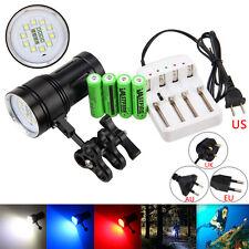 12000LM 10xXM-L2+4xR+4xB LED Photograph Video Scuba Diving 100M Flashlight Torch