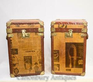Pair English Newsprint Luggage Boxes Trunk Side Tables Coffee