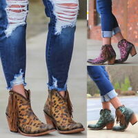 Womens Leopard Tassel Side Zip Thick High Heel Party Shoes Dress Ankle High Heel