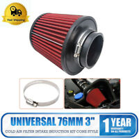 """Performance High Flow Cone Air Filter (76mm) 3"""" Inch Neck Diameter RED/CHROME"""
