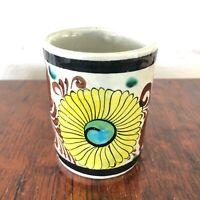"1979 Vintage Handmade Tonala Mexico Pottery 3"" tall Cup Yellow Flower"