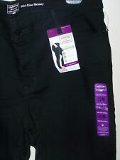 Levis Strauss women sz 22 stretch jeans Black Mid-Rise Skinny sexy fit denim 22M