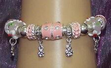 New 925 Sterling Silver Filled, Pink Enamel and Crystal Fashion Charm Bracelet