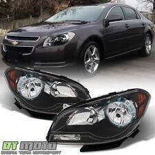 Black 2008-2012 Chevy Malibu Headlights Headlamps 08 09 10 11 12 Pair Left+Right