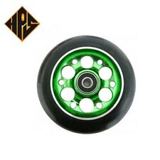 2X PRO STUNT SCOOTER GREEN DRILLED METAL CORE WHEELS 100mm 88A ABEC 9 BEARINGS
