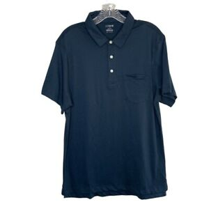 J CREW Mens Sz Medium M Solid Navy Blue Washed Polo Shirt NWT !00% Cotton Jersey