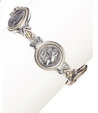Dani G Jewelry 14K Yellow Gold & Sterling Silver Roman Coin Bracelet.
