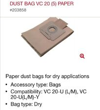 More details for hilti vc 20 vacuum cleaner bags, 5 in pack, free uk delivery, id - 203858