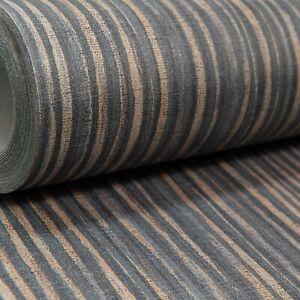 Charcoal Black Copper Gold Brown Plain Stripe Wallpaper Paste the Wall