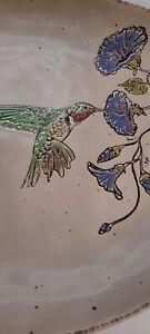 "INHOMESTYLEZ 2020 RUBY  HUMMINGBIRD CERAMIC LARGE SERVING PLATTER 14""×12.5"" NWT"