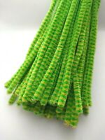 50 x Premium Craft Pipe Cleaners Chenille Stems 30cm x 6mm GREEN / YELLOW STRIPE