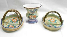MAJOLICA POTTERY, THREE PIECES, VASE, TWO MATCHING BASKET DISHES, HANDPAINTED