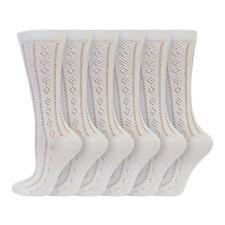 Kids Girls 6 Pack Cotton Rich White Traditional Pelerine School Socks Age 1-11+