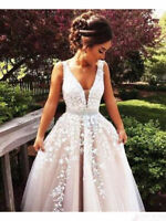 Tulle Lace Applique Wedding Dresses A Line V Neck Sash Wedding Gowns Custom Size