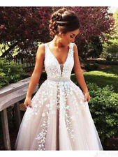Tulle Lace Applique Wedding Dresses A Line V  Neck Sash Wedding Gowns Custom SZ